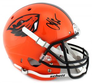 Chad Johnson Signed Oregon State University Beavers NCAA Schutt Full Size Orange Helmet-0