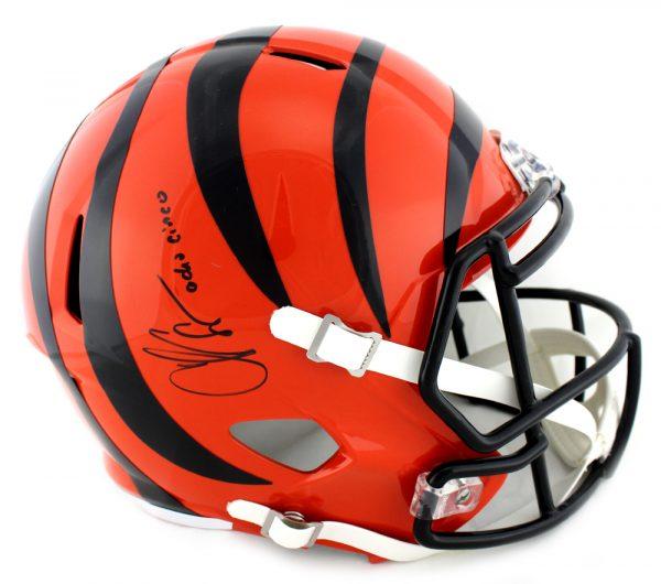 "Chad Johnson Signed Cincinnati Bengals NFL Full Size Speed Helmet With ""Ocho Cinco"" Inscription-0"