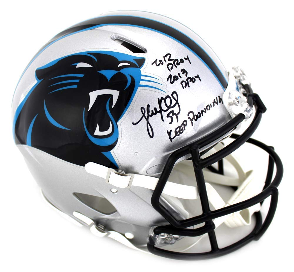 super popular 67133 d60de Luke Kuechly Signed Carolina Panthers Authentic Speed NFL Helmet with