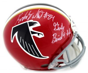 "Roddy White Signed Atlanta Falcons Riddell NFL Authentic Full-Size Throwback Red Helmet With ""Dirty Bird 4 Life"" Inscription-0"
