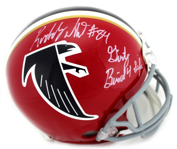"""Roddy White Signed Atlanta Falcons Riddell NFL Authentic Full-Size Throwback Red Helmet With """"Dirty Bird 4 Life"""" Inscription-0"""