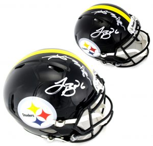 Antonio Brown and LeVeon Bell Signed Pittsburgh Steelers Full Size Black Speed Helmet-0
