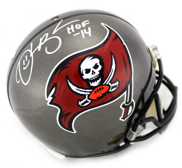 "Derrick Brooks Signed Tampa Bay Buccaneers Riddell NFL Authentic Full Size Throwback (1997-2013) Helmet With ""HOF 2014"" Inscription-0"