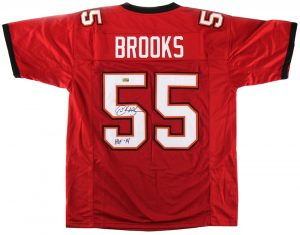"Derrick Brooks Signed Tampa Bay Custom Red Jersey With ""HOF 2014"" Inscription-0"