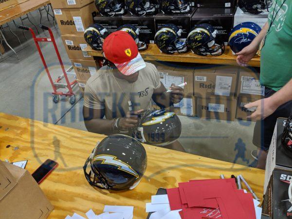 Melvin Gordon & LaDainian Tomlinson Signed Los Angeles Chargers Riddell Throwback Full Size NFL Blue Helmet-32416