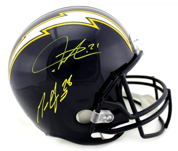 Melvin Gordon & LaDainian Tomlinson Signed Los Angeles Chargers Riddell Throwback Full Size NFL Blue Helmet-0