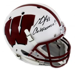 "Melvin Gordon Signed Wisconsin Badgers Schutt White Full Size NCAA Helmet With ""On Wisconsin"" Inscription-0"