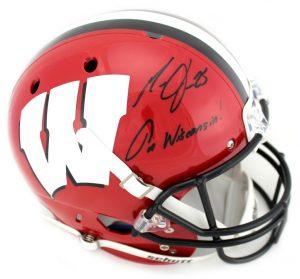"Melvin Gordon Signed Wisconsin Badgers Schutt Full Size NCAA Red & Black Helmet With ""On Wisconsin"" Inscription-0"