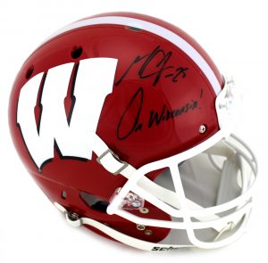 "Melvin Gordon Signed Wisconsin Badgers Schutt Full Size NCAA Red & White Helmet With ""On Wisconsin"" Inscription-0"