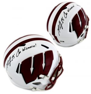 """Melvin Gordon Signed Wisconsin Badgers Riddell Full Size NCAA Speed Helmet With """"On Wisconsin"""" Inscription-0"""