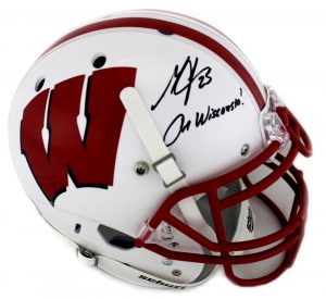 Melvin Gordon Signed Wisconsin Badgers Schutt Full Size NCAA White Helmet With Career Stats Inscription-0