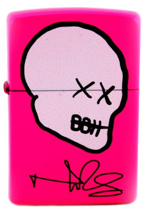 Norman Reedus Exclusive Zippo Lighter with Big Bald Head Logo - Neon Pink with White Logo-0