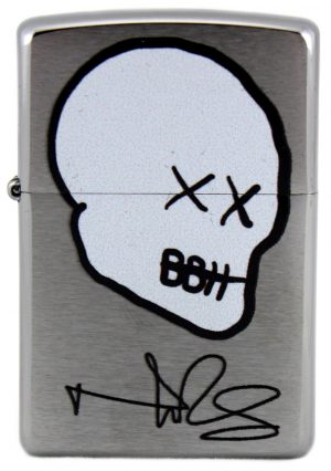 Norman Reedus Exclusive Zippo Lighter with Big Bald Head Logo - Chrome with White Logo-0