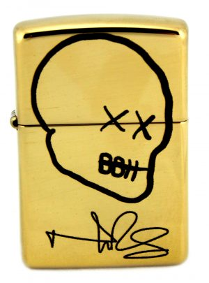 Norman Reedus Exclusive Zippo Lighter with Big Bald Head Logo - Brass with Black Logo-0