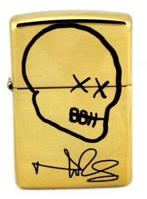 Norman Reedus Exclusive Zippo Lighter with Big Bald Head Logo - Brass with Black Logo-0