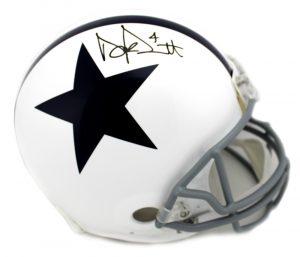 Dak Prescott Signed Dallas Cowboys Authentic Throwback Thanksgiving Helmet-0