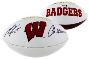 """Melvin Gordon Signed Wisconsin Badgers Embroidered NCAA Football With """"On Wisconsin"""" Inscription-0"""
