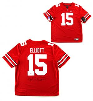 Ezekiel Elliott Signed Ohio State Buckeyes Red Nike Jersey-0