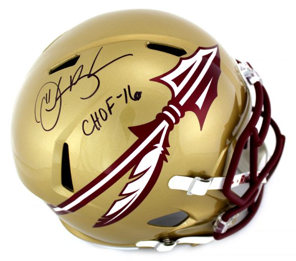 "Derrick Brooks Signed Florida State Seminoles Schutt NCAA Full Size Speed Helmet With ""CHOF 16"" Inscription-0"