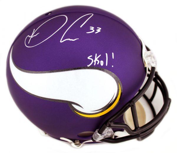 """Dalvin Cook Signed Minnesota Vikings Riddell Authentic Helmet with """"SKOL"""" Inscription-0"""