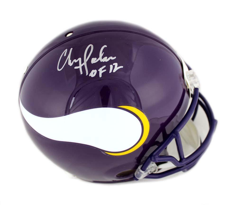 "04d7c5b54 Chris Doleman Signed Minnesota Vikings Throwback Authentic Helmet with ""HOF  12"" Inscription"