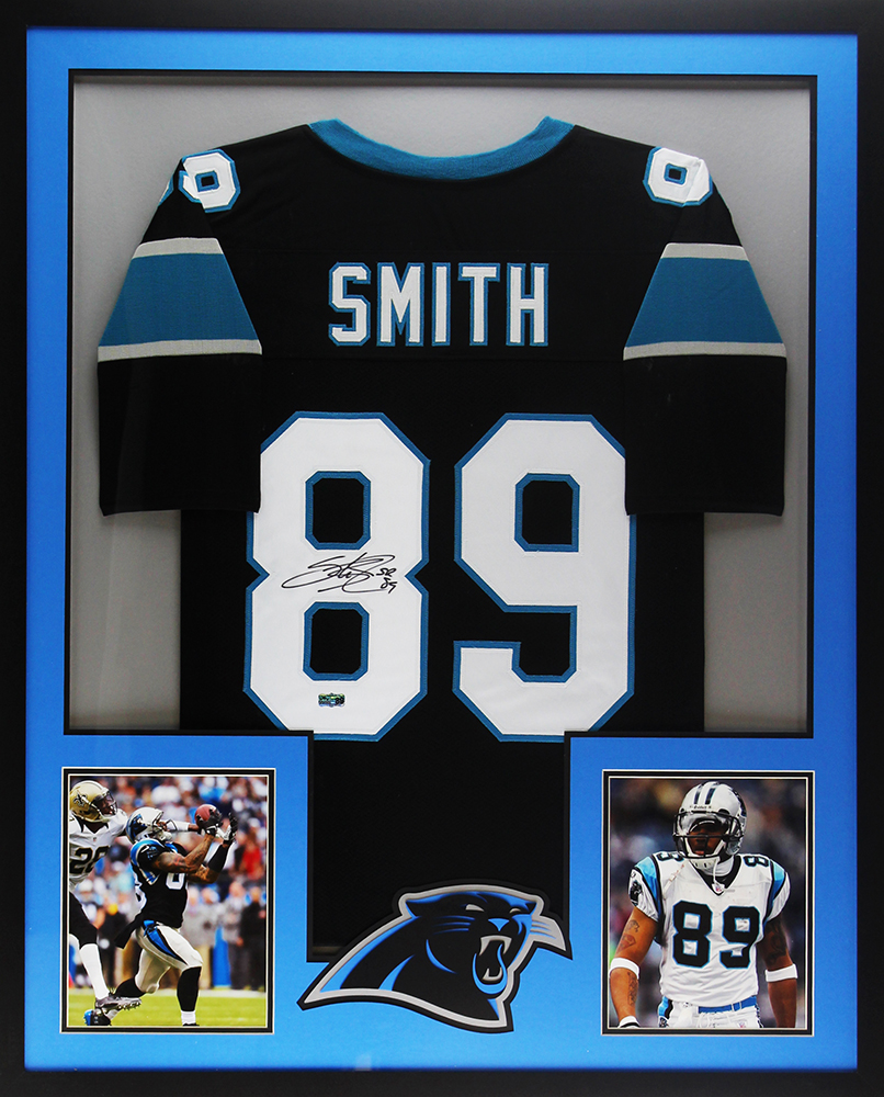 Steve Smith Sr. Signed Carolina Framed Custom Black NFL Jersey