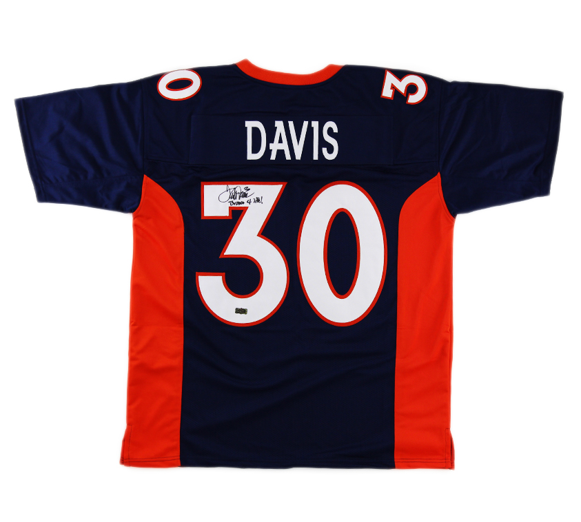 newest f685a 9df9a Terrell Davis Signed Denver Custom Blue Jersey with