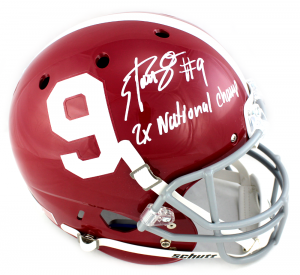 "Bo Scarbrough Signed Alabama Crimson Tide Schutt Full Size Helmet with ""2x National Champ"" Inscription-0"