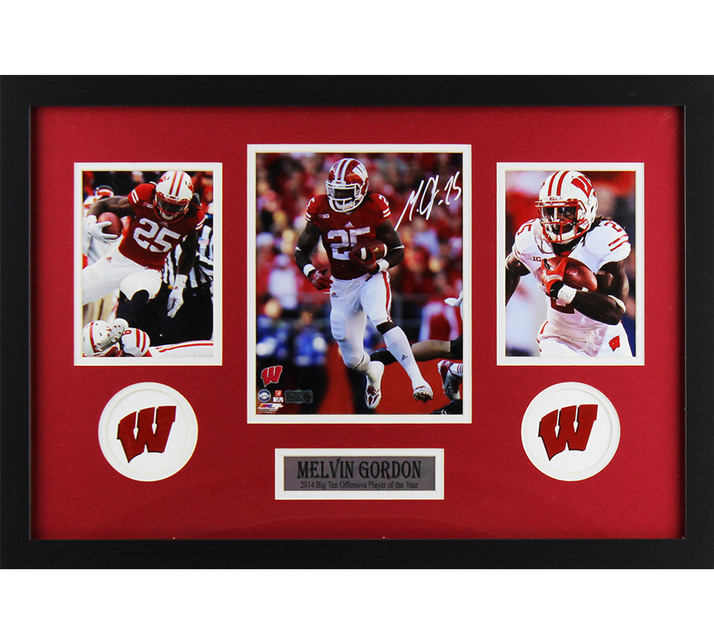 newest collection 122b6 d8b8e Melvin Gordon Signed Wisconsin Badgers Framed 8x10 Color NCAA Photo