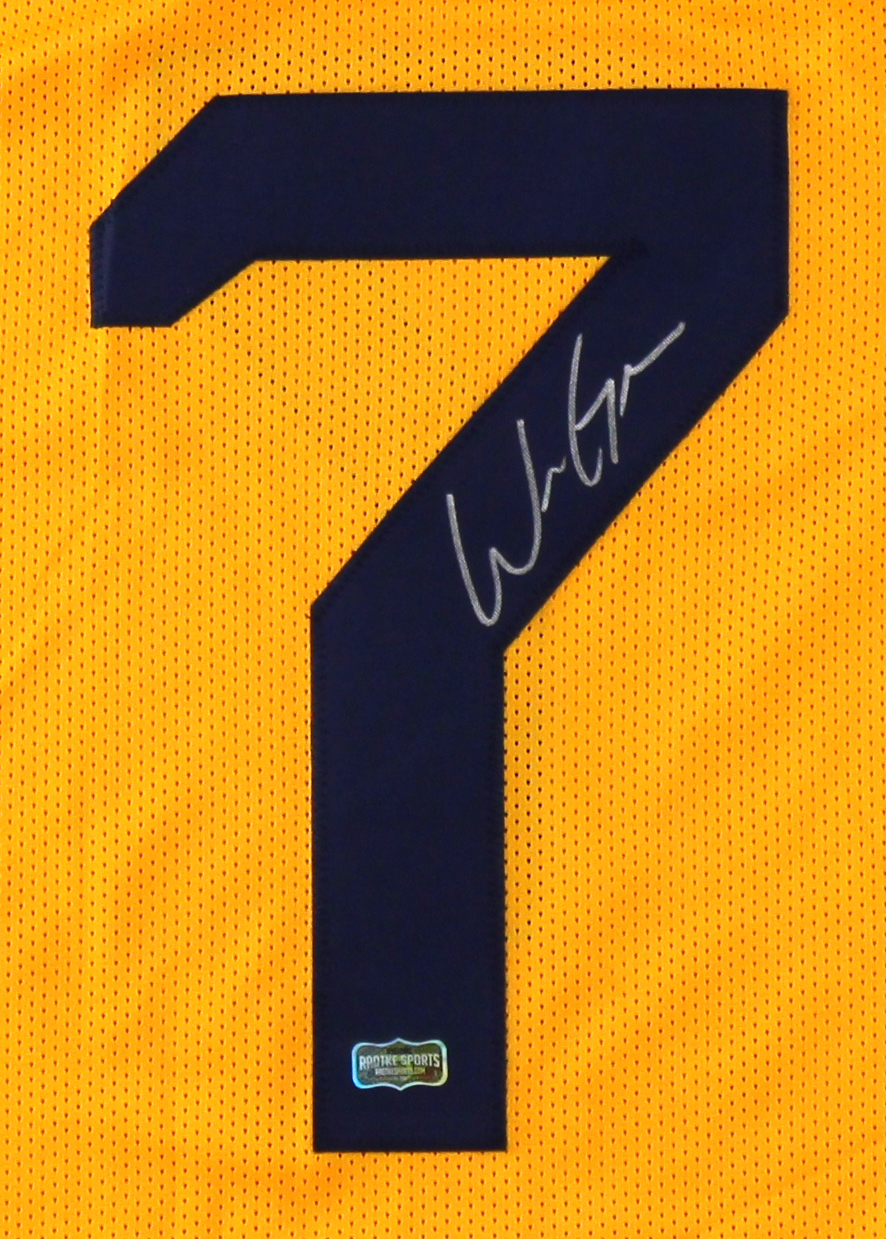 online retailer e4446 bccf4 Will Grier Signed West Virginia Yellow NCAA Custom Jersey