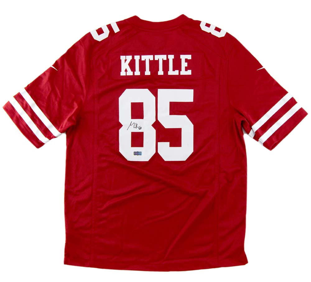low priced e95b4 7f598 George Kittle Signed San Francisco Nike Red Jersey
