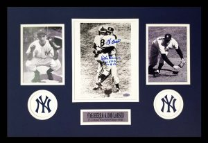 Yogi Berra & Don Larsen Signed New York Yankees Black And White Framed 8x10 Photo-0
