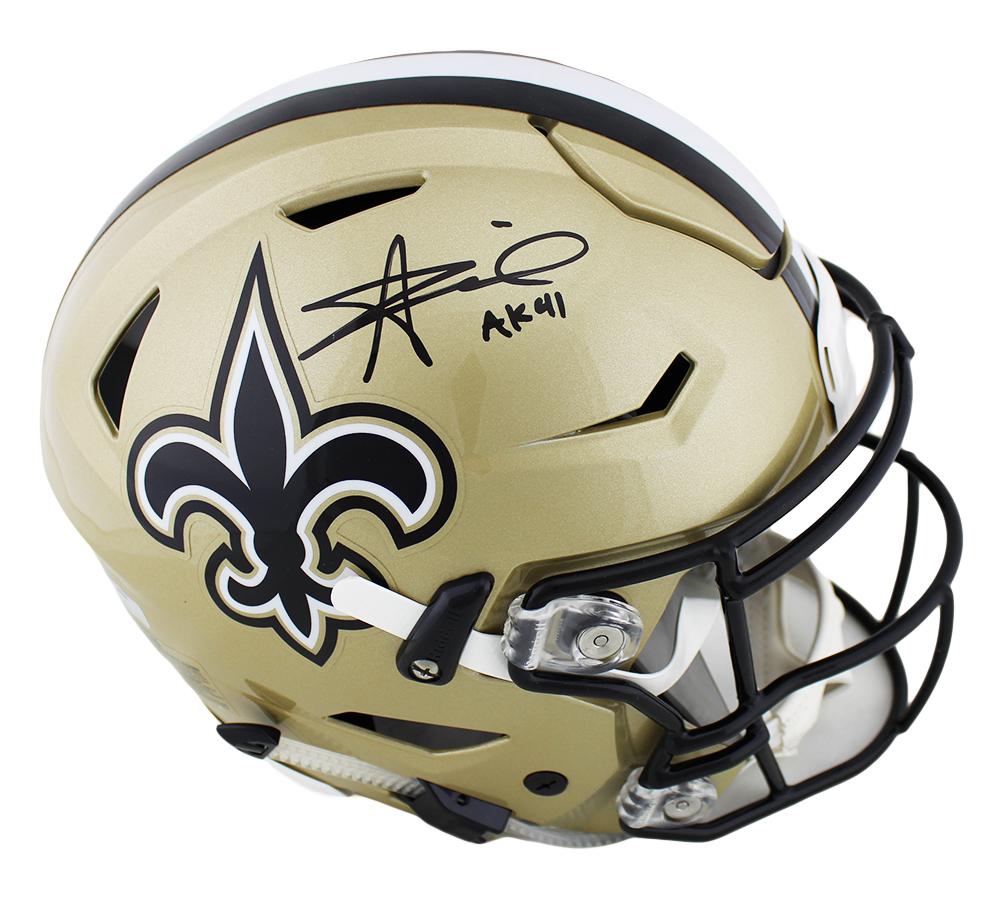 best service 5d6c7 645d8 Alvin Kamara Signed New Orleans Saints Speed Flex Authentic Gold NFL Helmet  with