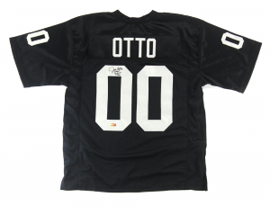 "Jim Otto Signed Oakland Raiders Black Custom Jersey with ""HOF 1980"" Inscription-0"