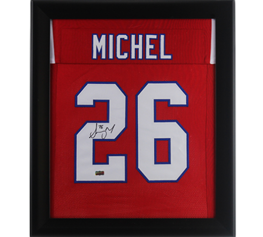 Sony Michel Signed New England 27x23 Framed Custom Red Jersey