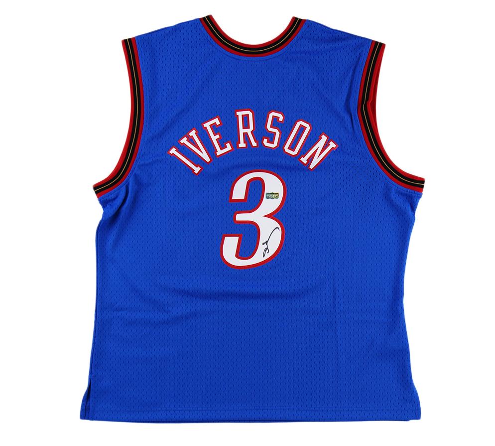 Allen Iverson Signed Philadelphia 76ers Mitchell & Ness Blue NBA Jersey