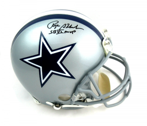 Roger Staubach Autographed/Signed Dallas Cowboys Riddell Authentic NFL Helmet with quotHOF 85quot Inscription-0