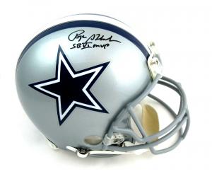 Roger Staubach Autographed/Signed Dallas Cowboys Riddell Authentic NFL Helmet with quotHOF 85quot Inscription-0