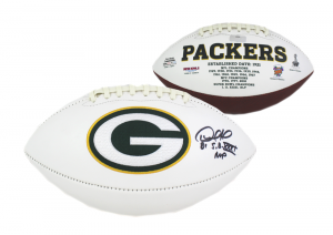 "Desmond Howard Signed Green Bay Packers Embroidered NFL Football with ""SB XXXI MVP"" Inscription-0"