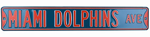 Miami Dolphins Officially Licensed Authentic Steel 36x6 Teal & Orange NFL Street Sign-6460