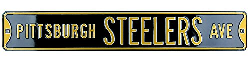 Pittsburgh Steelers Avenue Officially Licensed Authentic Steel 36x6 Black & Yellow NFL Street Sign-6467