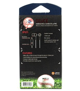New York Yankees Navy & White MLB Officially Licensed Deuce Ear Buds with Built-In Microphone & Hands-Free Functionality-7900