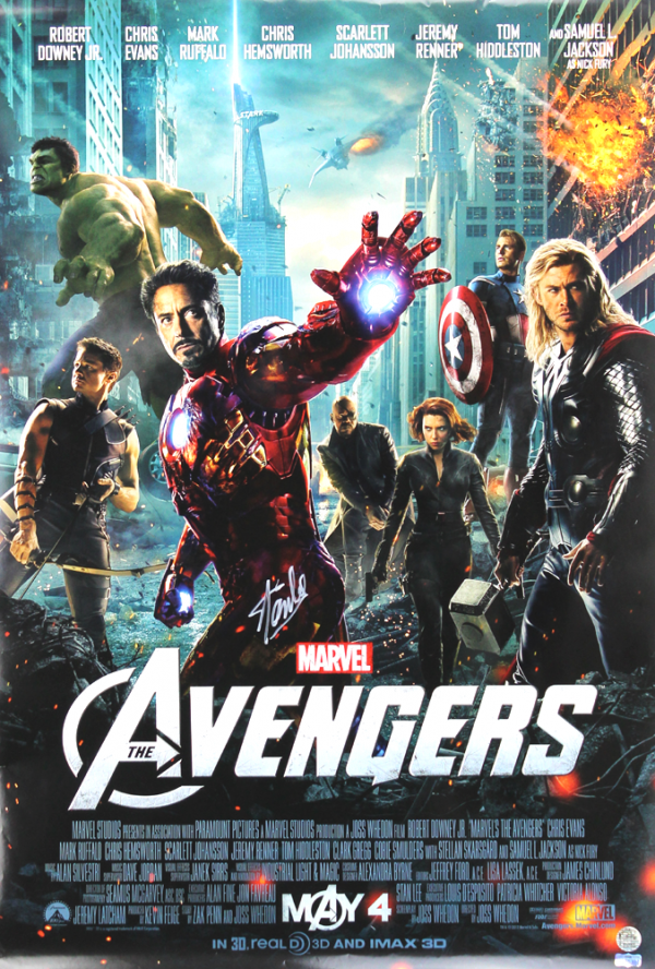 Stan Lee Signed 2-Sided Marvel Avengers Motion Picture 24x36 Original Movie Poster-26072