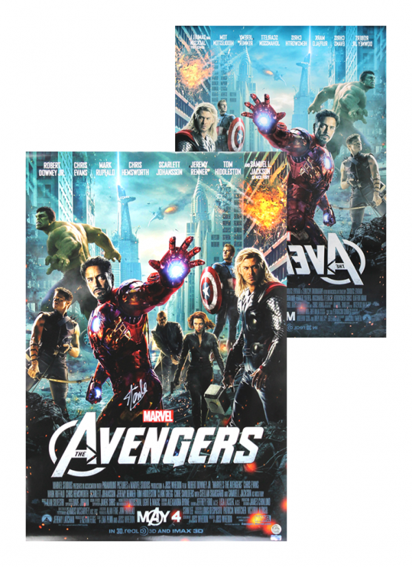 Stan Lee Signed 2-Sided Marvel Avengers Motion Picture 24x36 Original Movie Poster-0