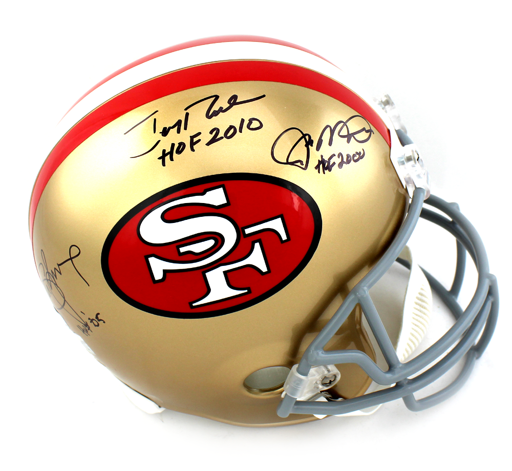 c372f9222 Joe Montana, Jerry Rice & Steve Young Signed San Francisco 49ers Riddell  Full Size NFL ...