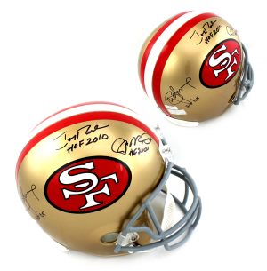 "Joe Montana, Jerry Rice & Steve Young Signed San Francisco 49ers Riddell Full Size NFL Helmet with 'HOF"" Inscriptions-0"