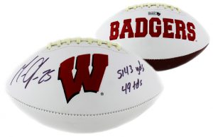 Melvin Gordon Signed Wisconsin Badgers Embroidered NCAA Football With Career Stats Inscription-0