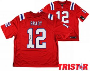Tom Brady Signed New England Patriots Nike Limited Red NFL Jersey - Tristar-0