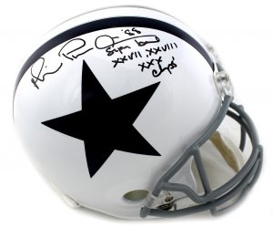 "Michael Irvin Autographed/Signed Dallas Cowboys Riddell Full Size White Throwback NFL Helmet With ""Playmaker & Champs"" Inscription-0"