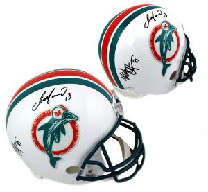 Dan Marino & Mark Clayton Signed Miami Dolphins Riddell Throwback Full Size NFL Helmet-0